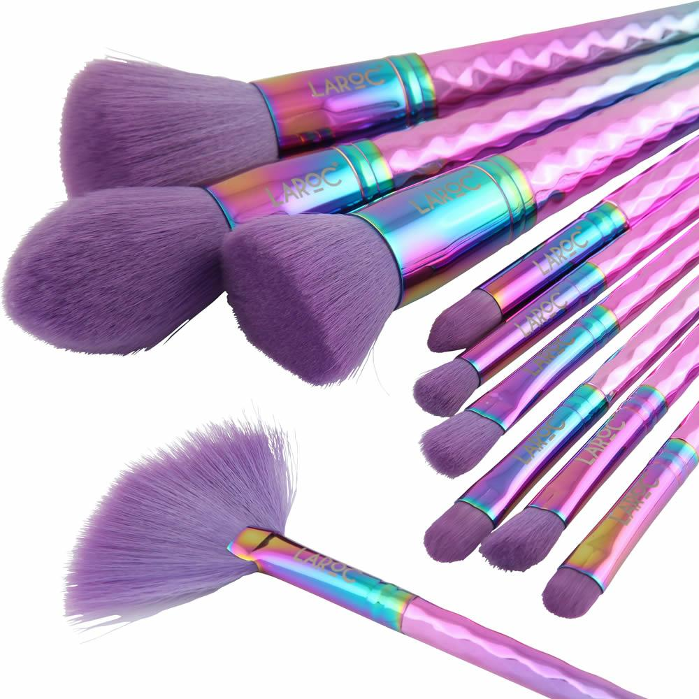LaRoc 10 Piece Diamond Brush Set - Rainbow