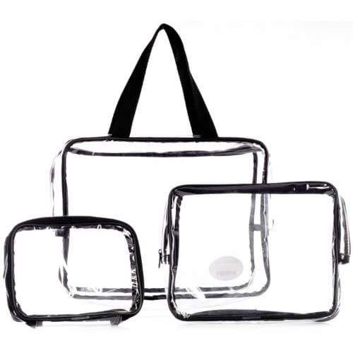 LaRoc 3 Piece Clear Toiletry Bags