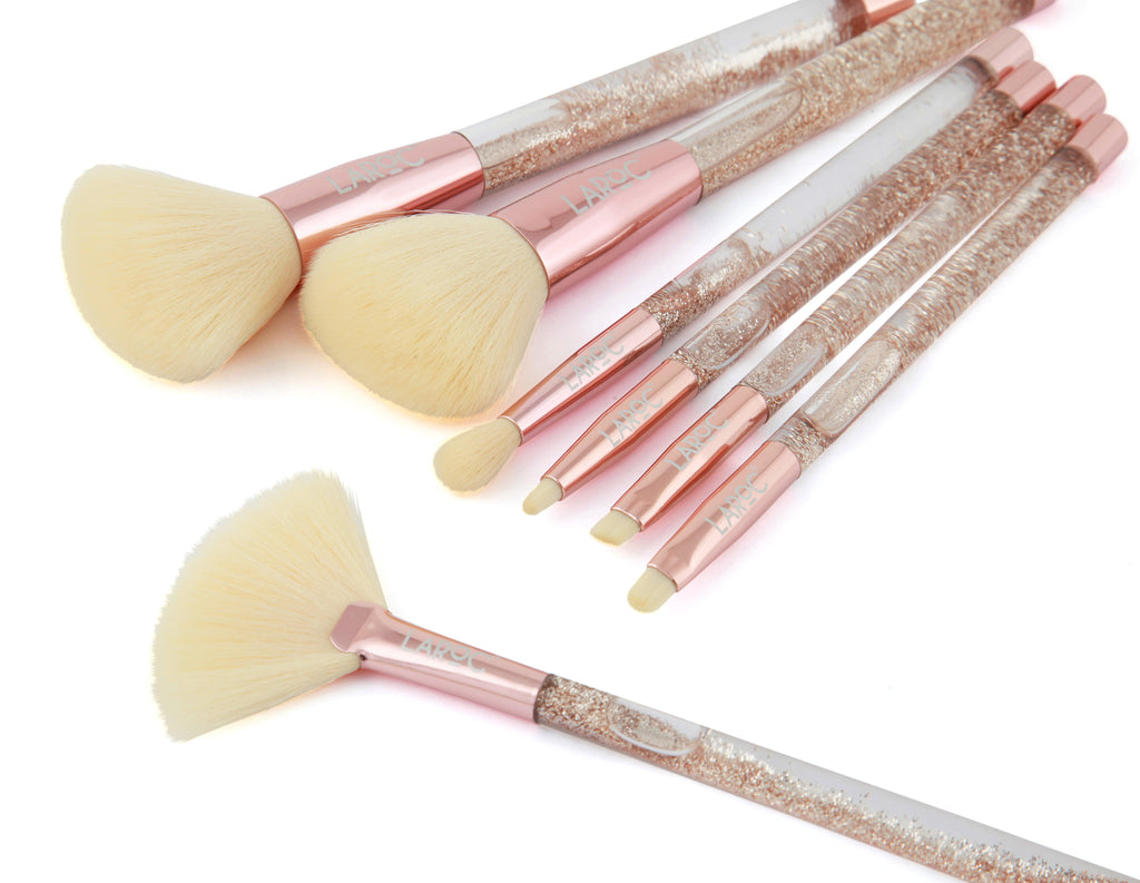 Rose Gold Makeup Brushes - 7 Piece Glitter Brush Set Laroc