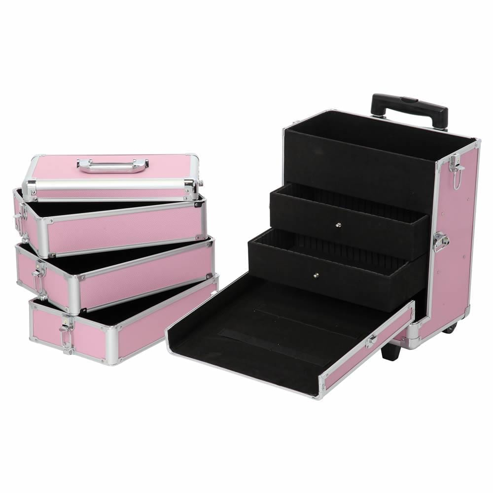 Makeup Trolley Case On Wheels - Pink