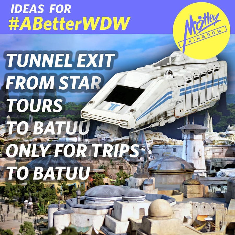 Exit Star Tours into Batuu