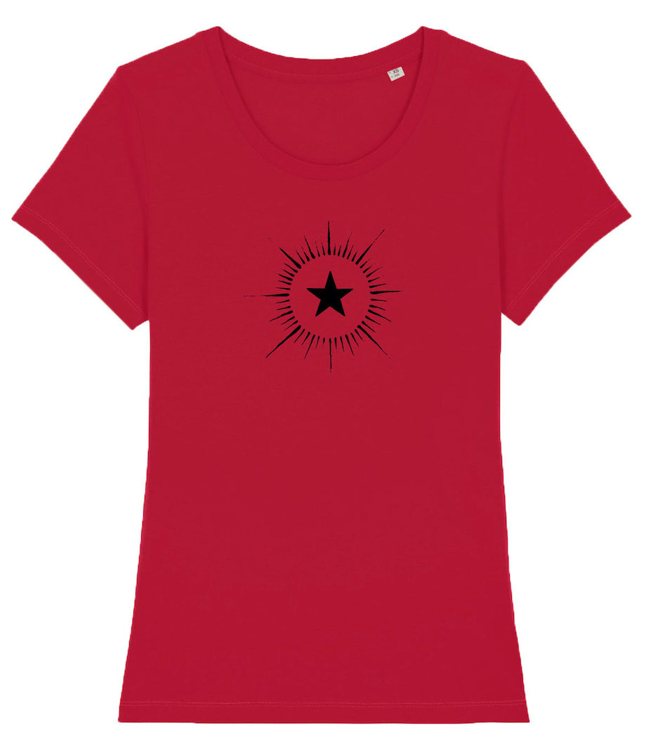 women's red teeshirt with black star design