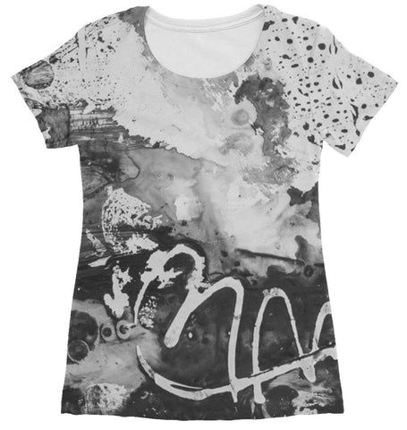 women's t shirt with abstract grey design