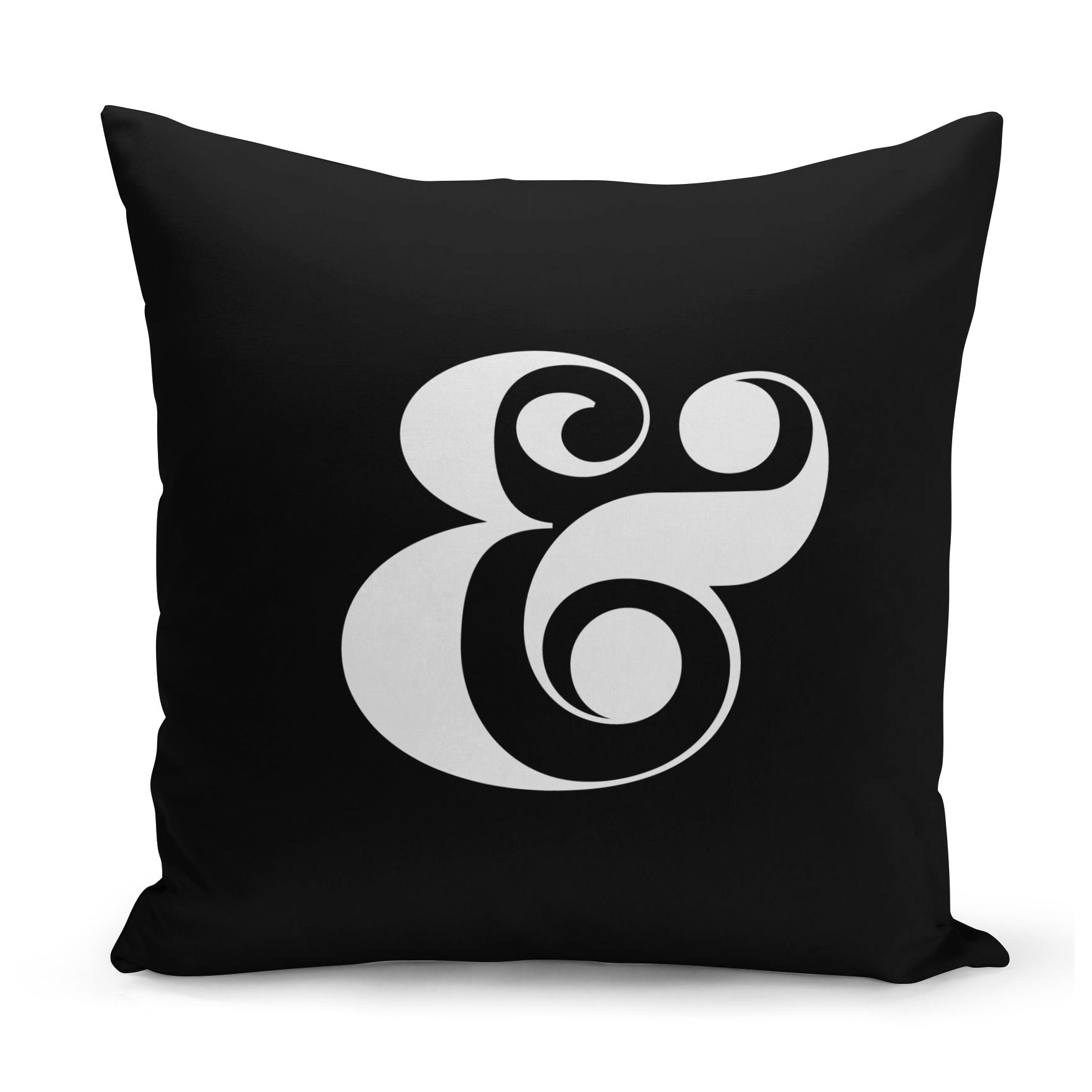 curvy typography design of an ampersand in white on a black cushion