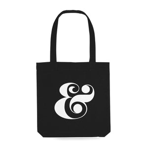 black tote bag with white ampersand decoration