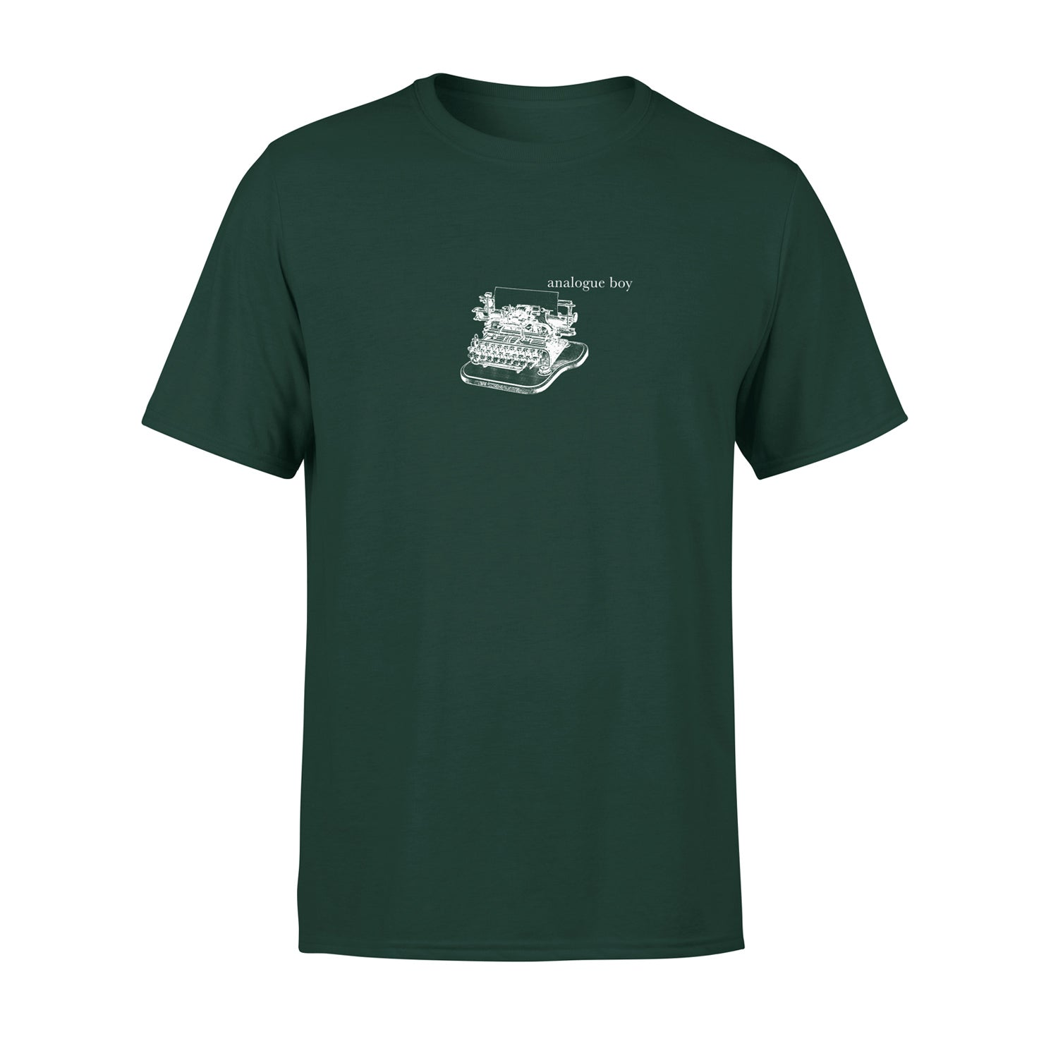 cool mens t shirt in green with vintage illustration of typewriter and the words 'analogue boy' typed next to it