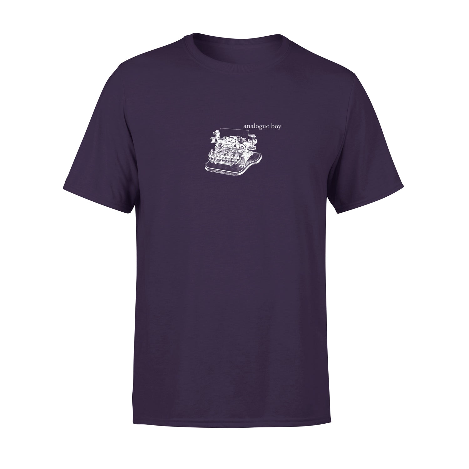 alternative mens t shirt in purple with vintage illustration of typewriter and the words 'analogue boy' typed next to it