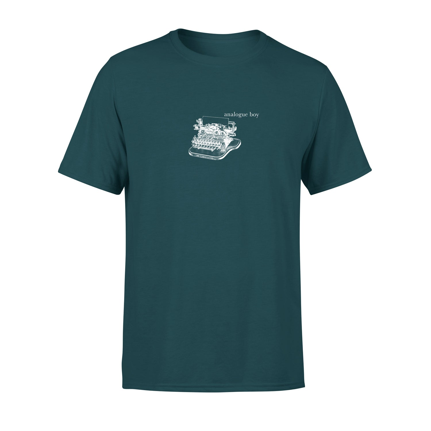 cool mens t shirt in blue-green with vintage illustration of typewriter and the words 'analogue boy' typed next to it