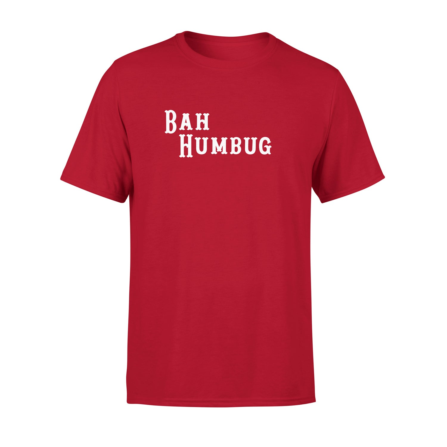 red mens t shirt with 'bah humbug' on it as a christmas jumper alternative