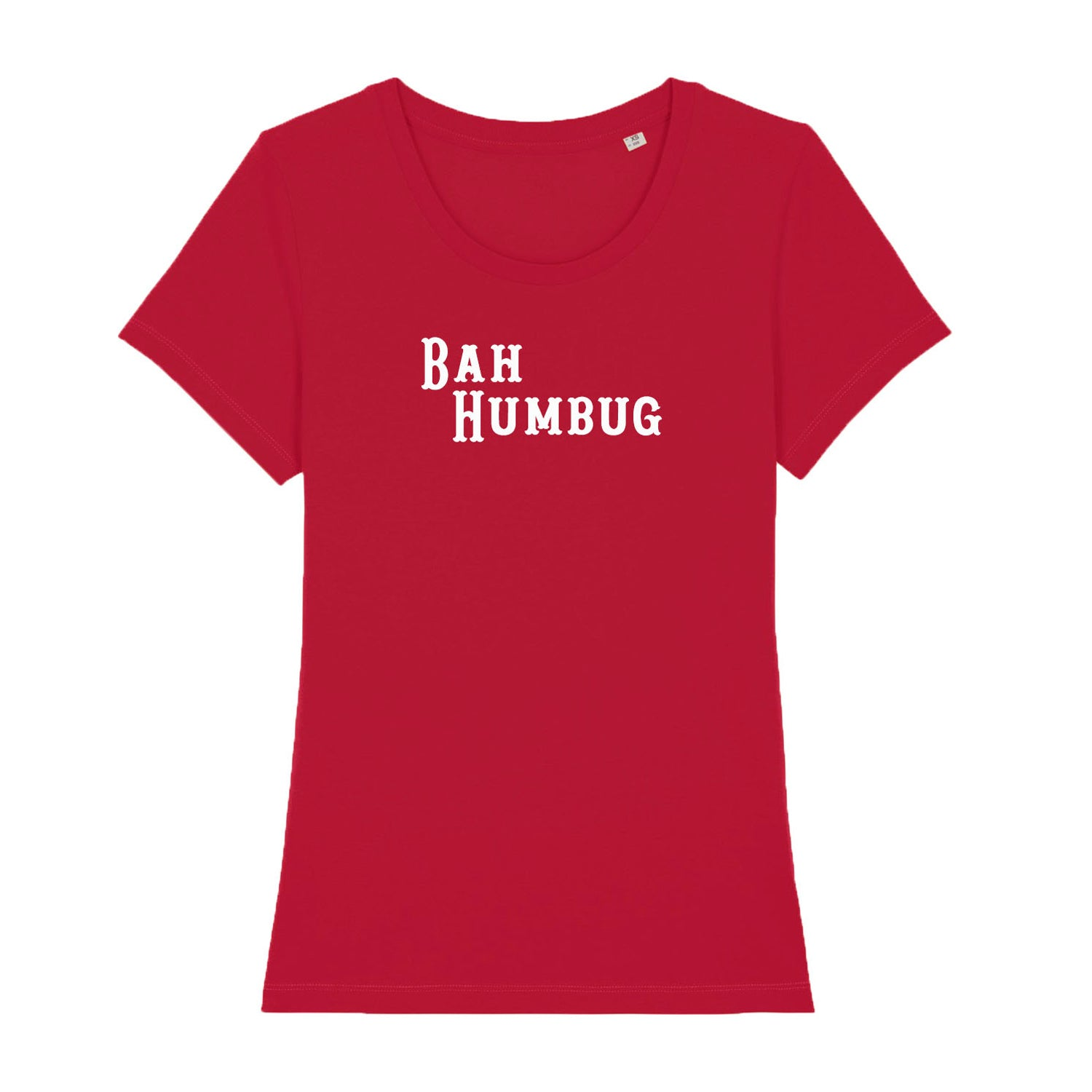 red womens t shirt with 'bah humbug' on it as a christmas jumper alternative