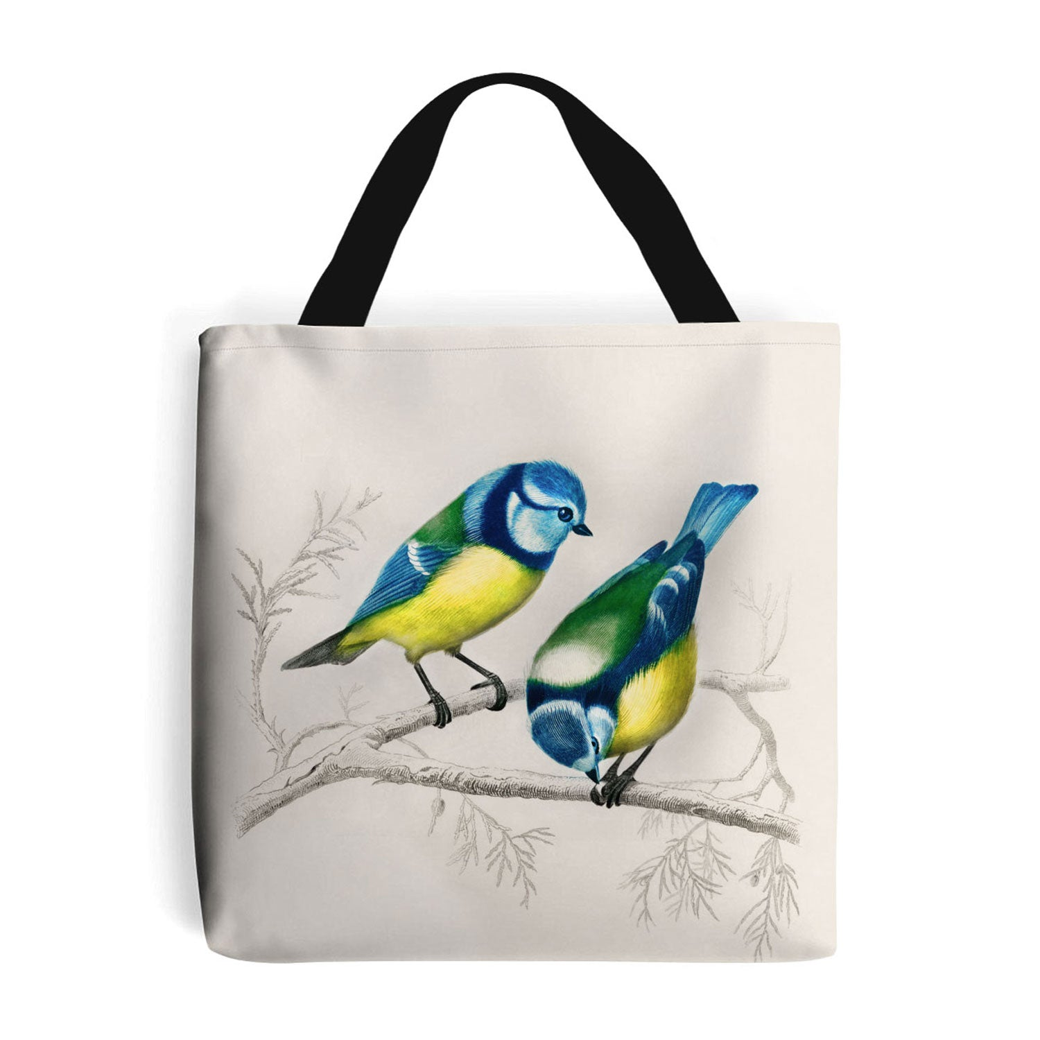 shopping bag with blue tit birds design