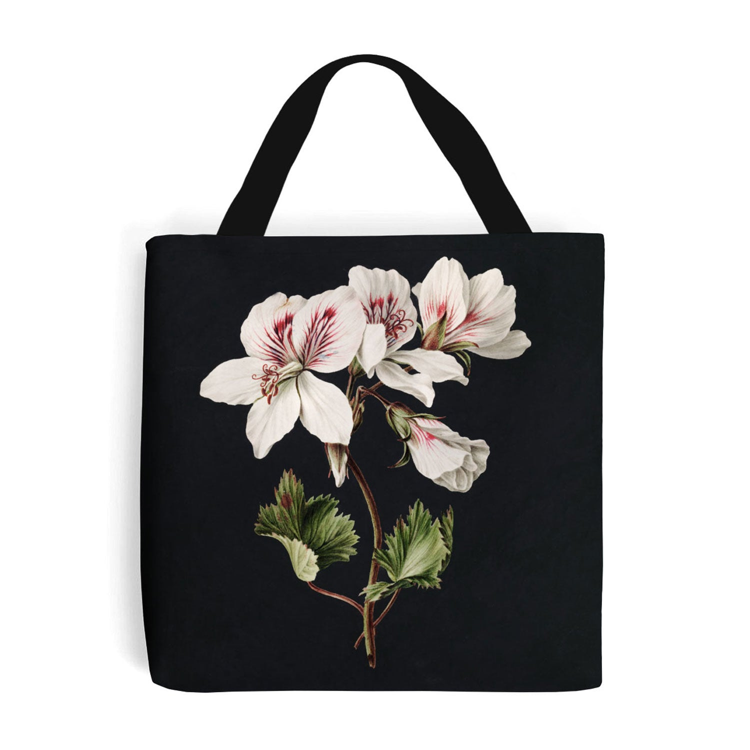 shopping bag with pelargonium flower design on the side
