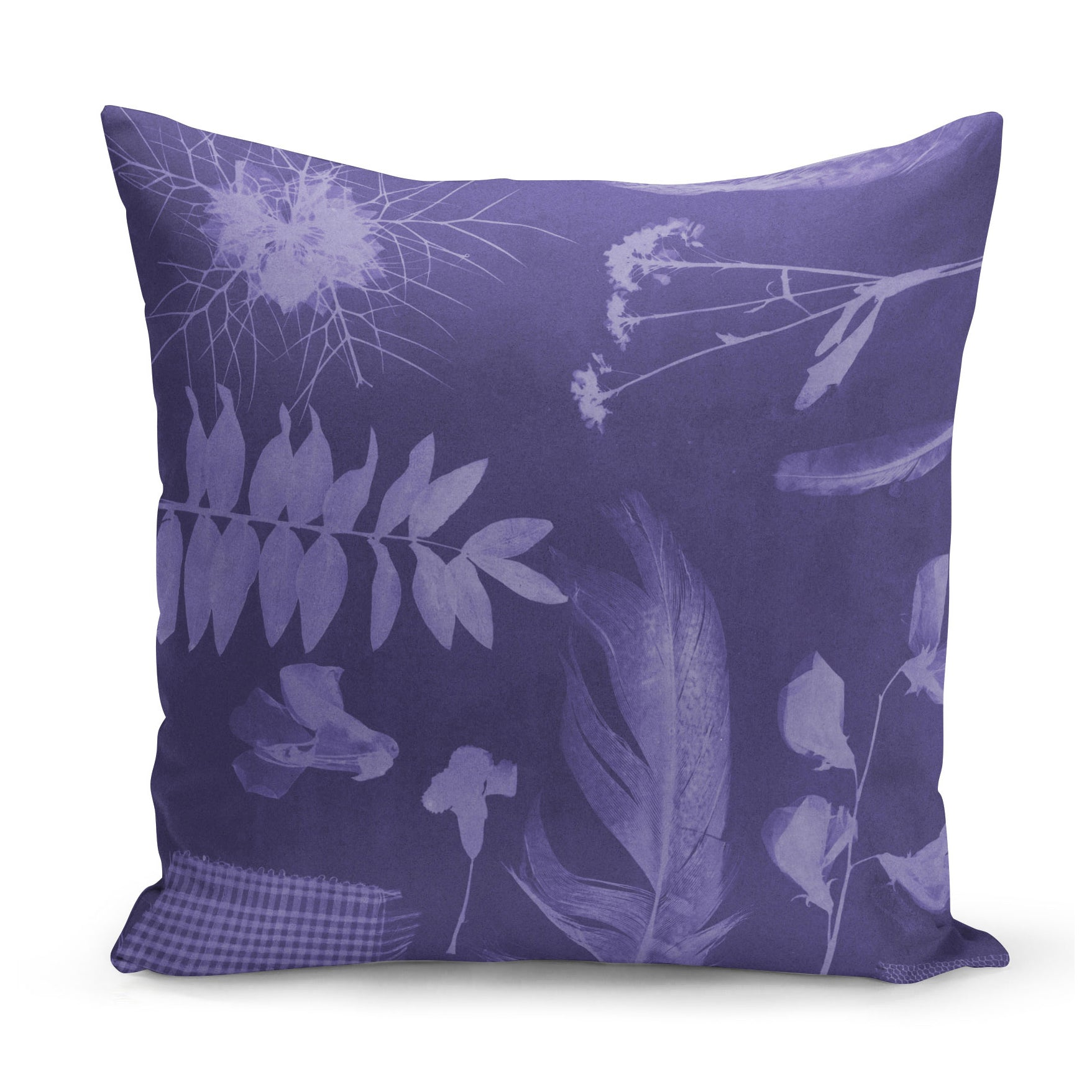 purple cushion with x-ray style images of feathers, flowers and plants