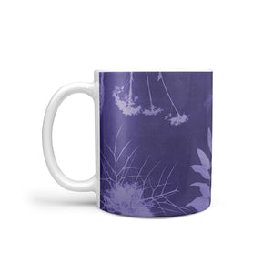 purple mug with botanical design