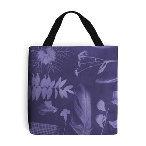 purple shopping bag with botanical feather and leaf design