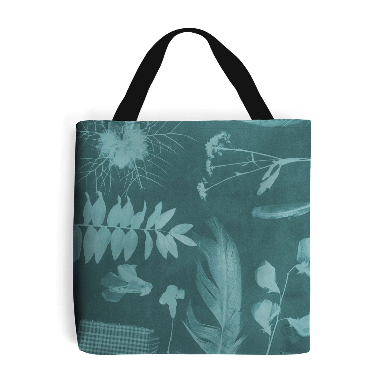 teal shopping bag with botanical feather and leaf design