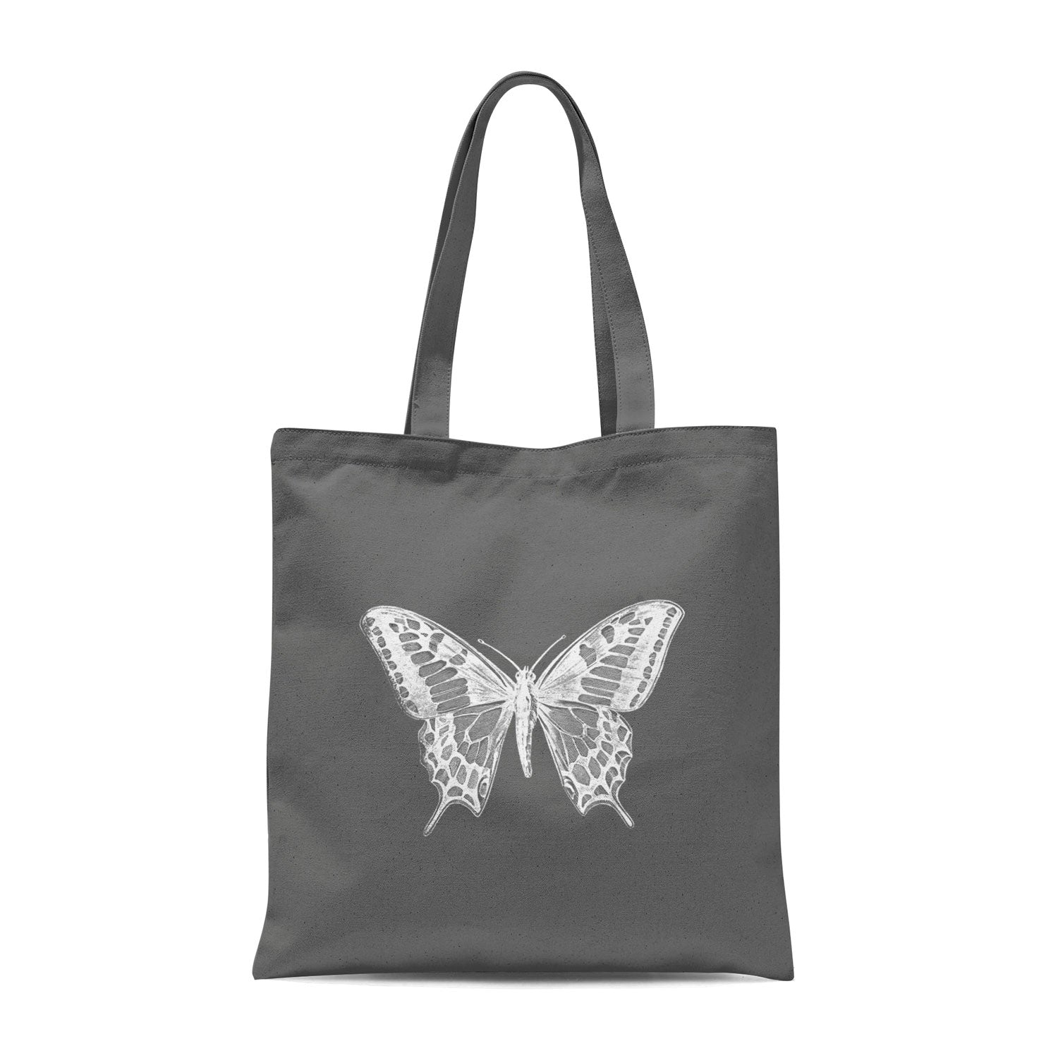 grey tote bag with white butterfly design