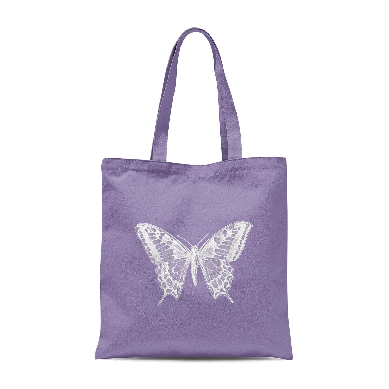 lavender-coloured tote bag with white butterfly design