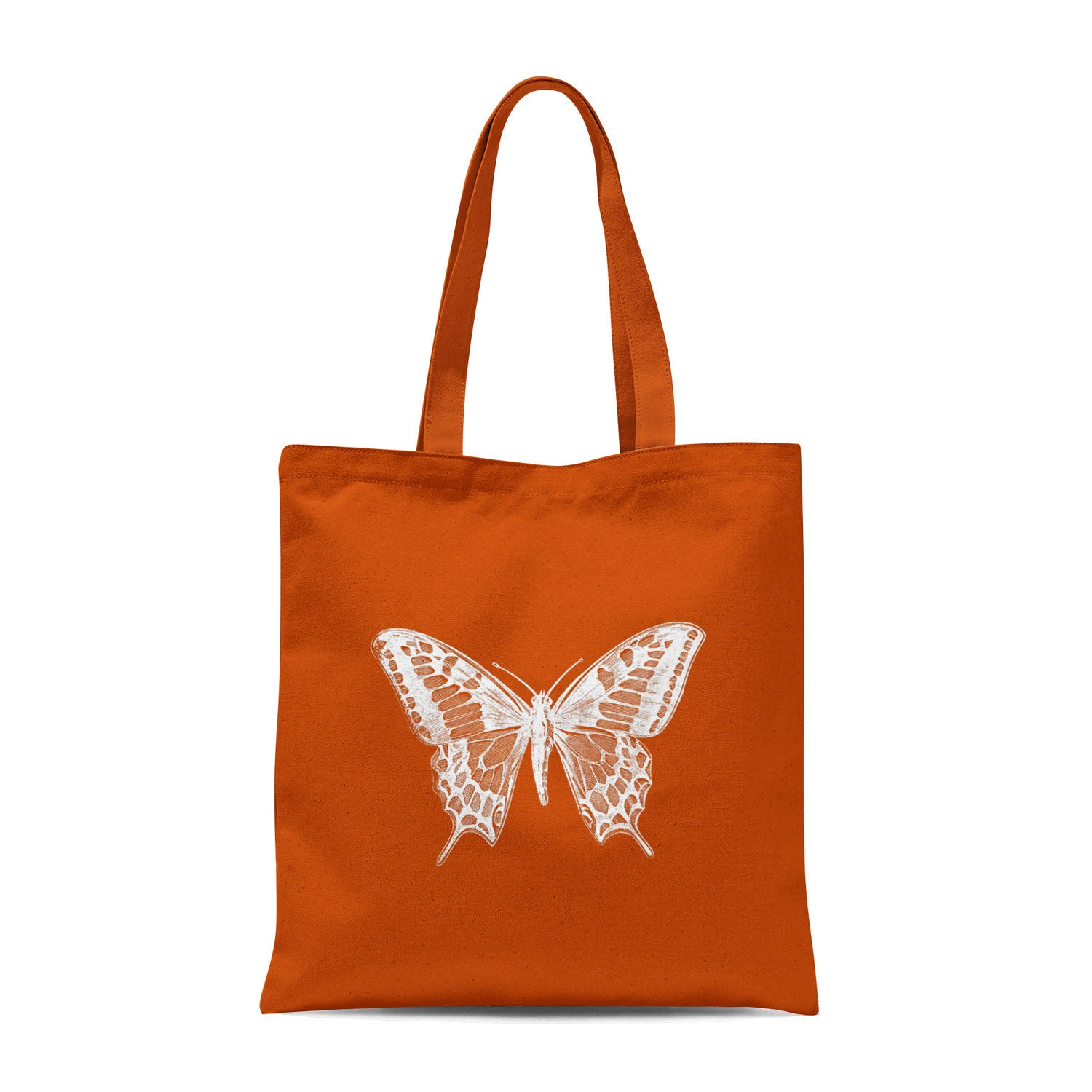 orange tote bag with white butterfly design