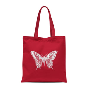 red tote bag with white butterfly design