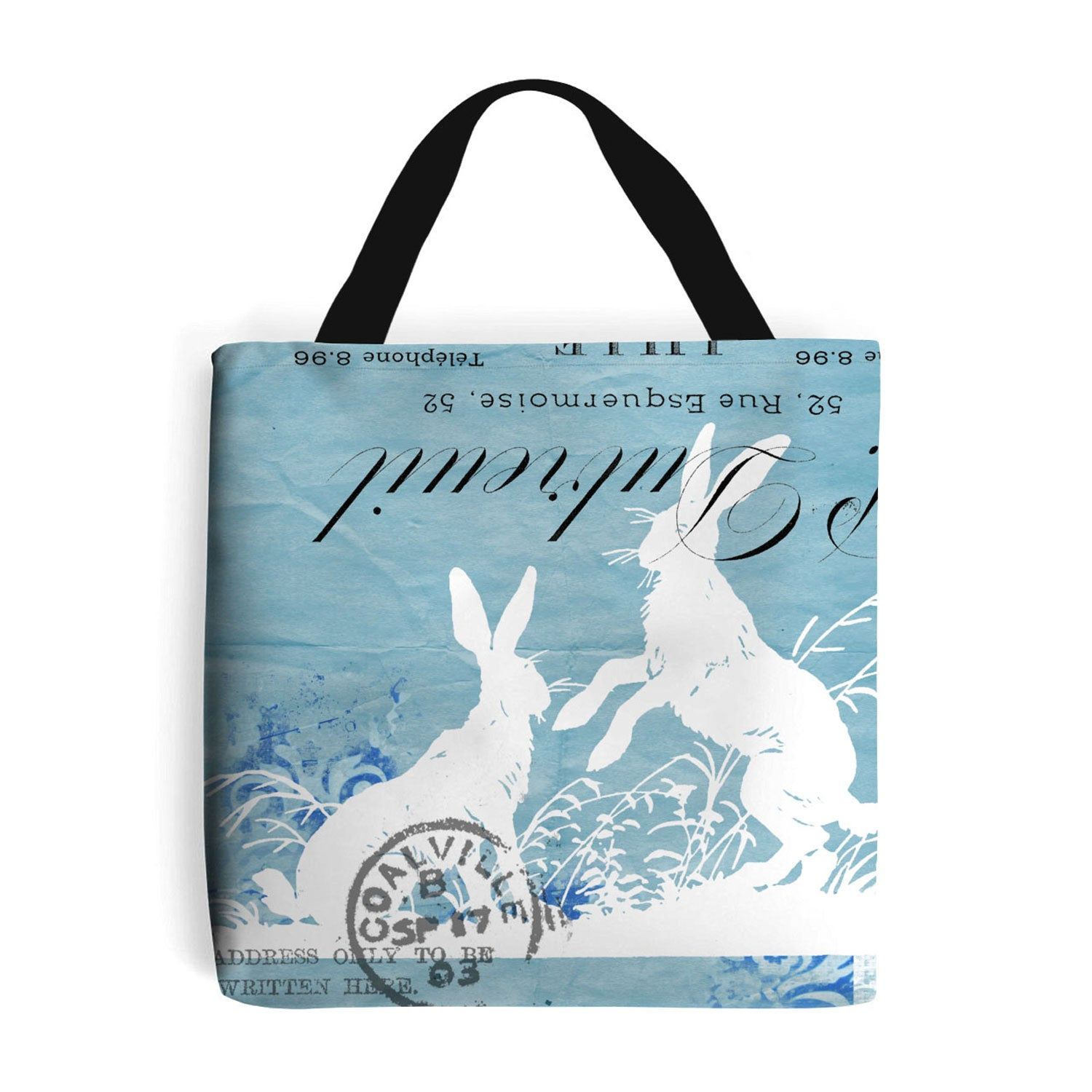 blue shopping bag with hare collage design