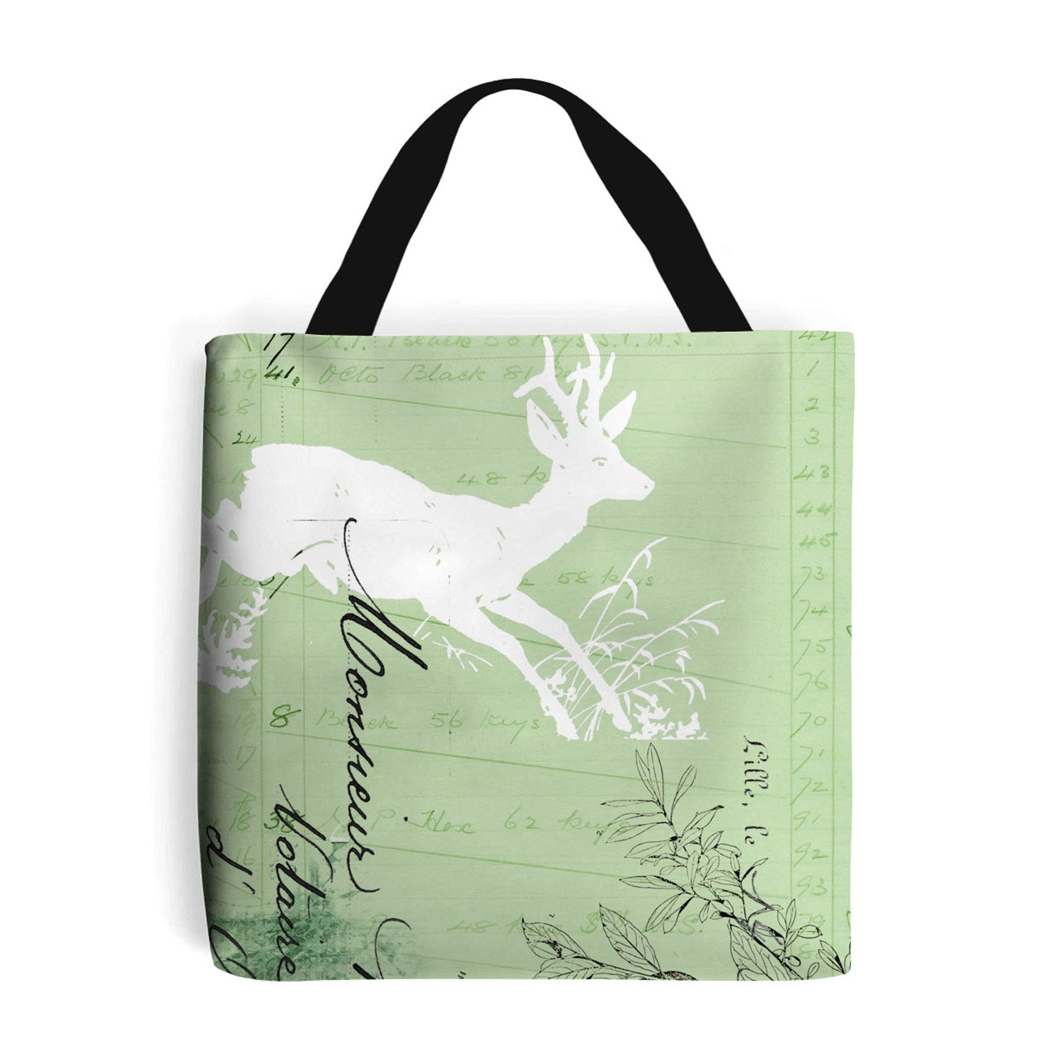 green shopping bag with deer collage design