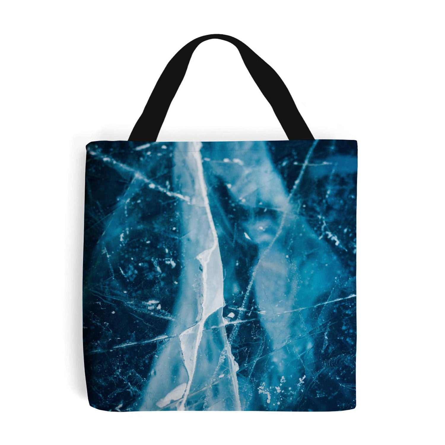 shopping bag with blue cracked ice image on the side
