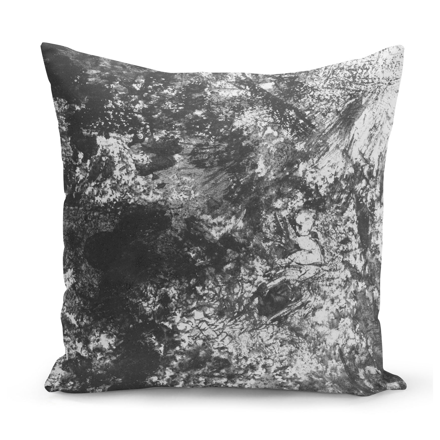 grey cushion with smudgy pencil effect design