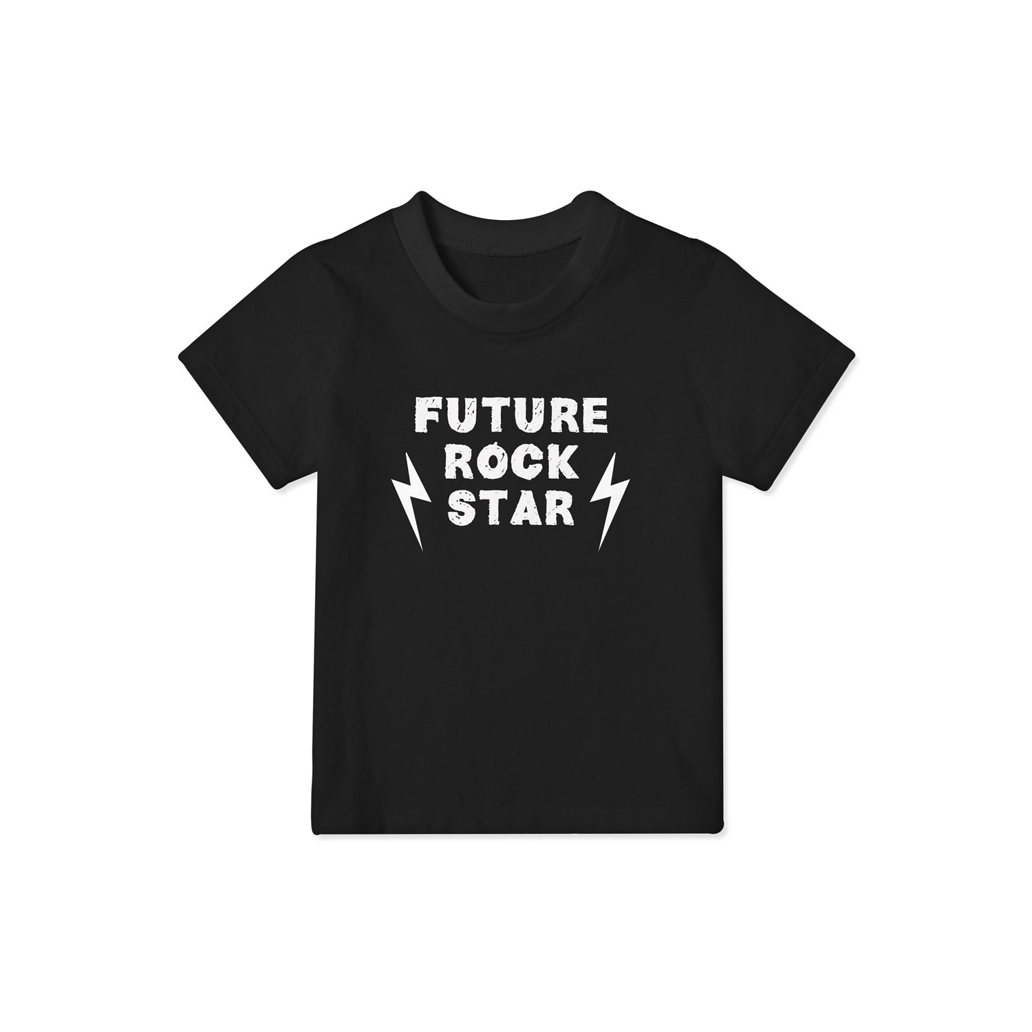 black t shirt in child size that reads 'future rock star'