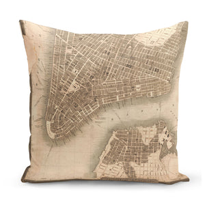 cushion with print of 1830s map of new york city