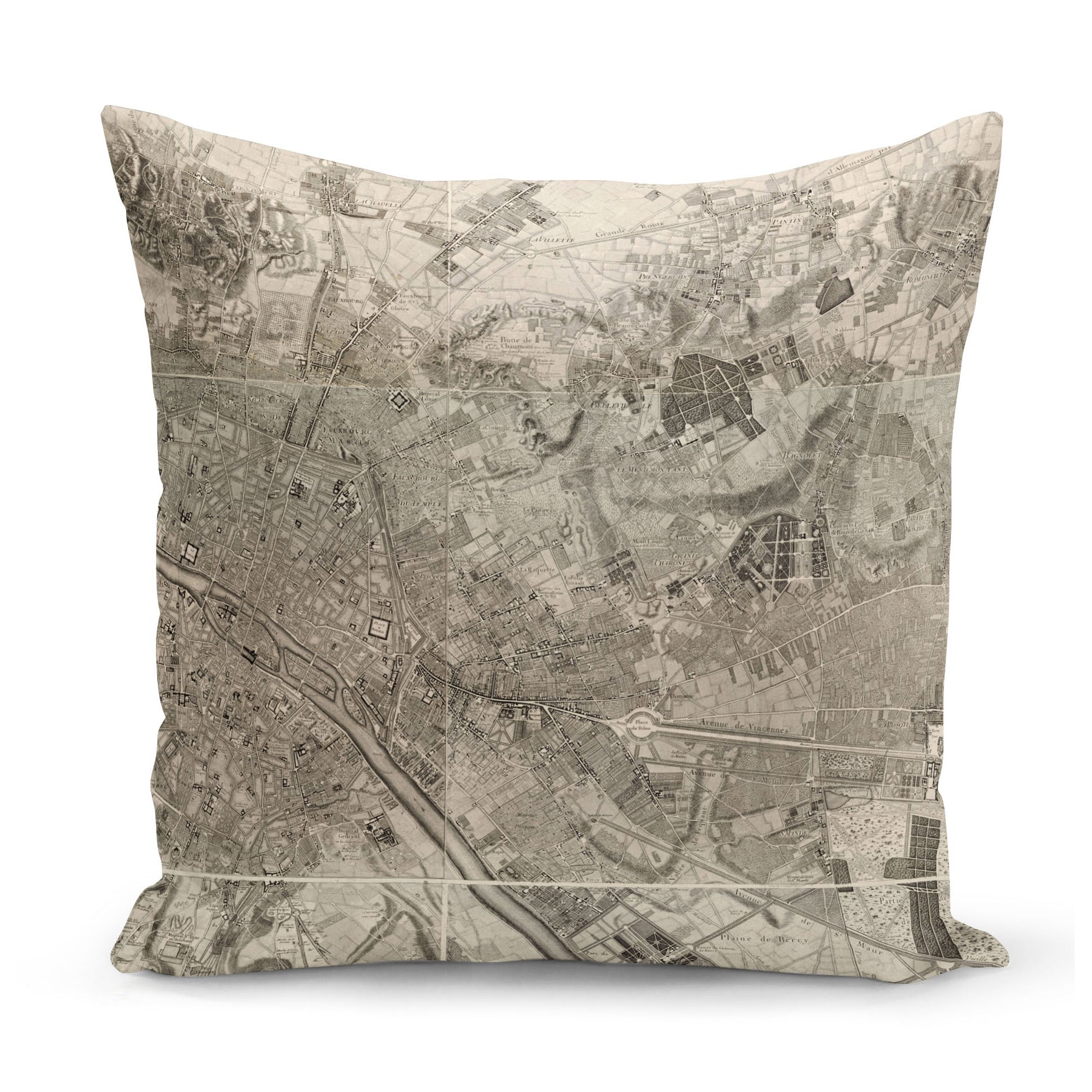 cushion with print of 18th century map of paris
