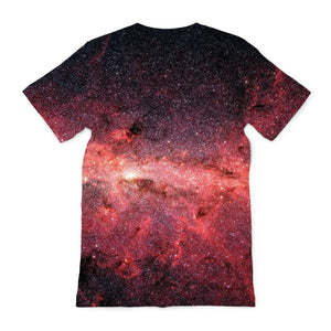 the back of an unusual teeshirt for men showing infrared print of the milky way