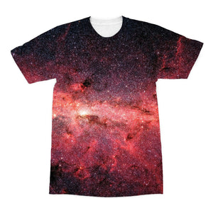 the front of an unusual teeshirt for men showing infrared print of the milky way