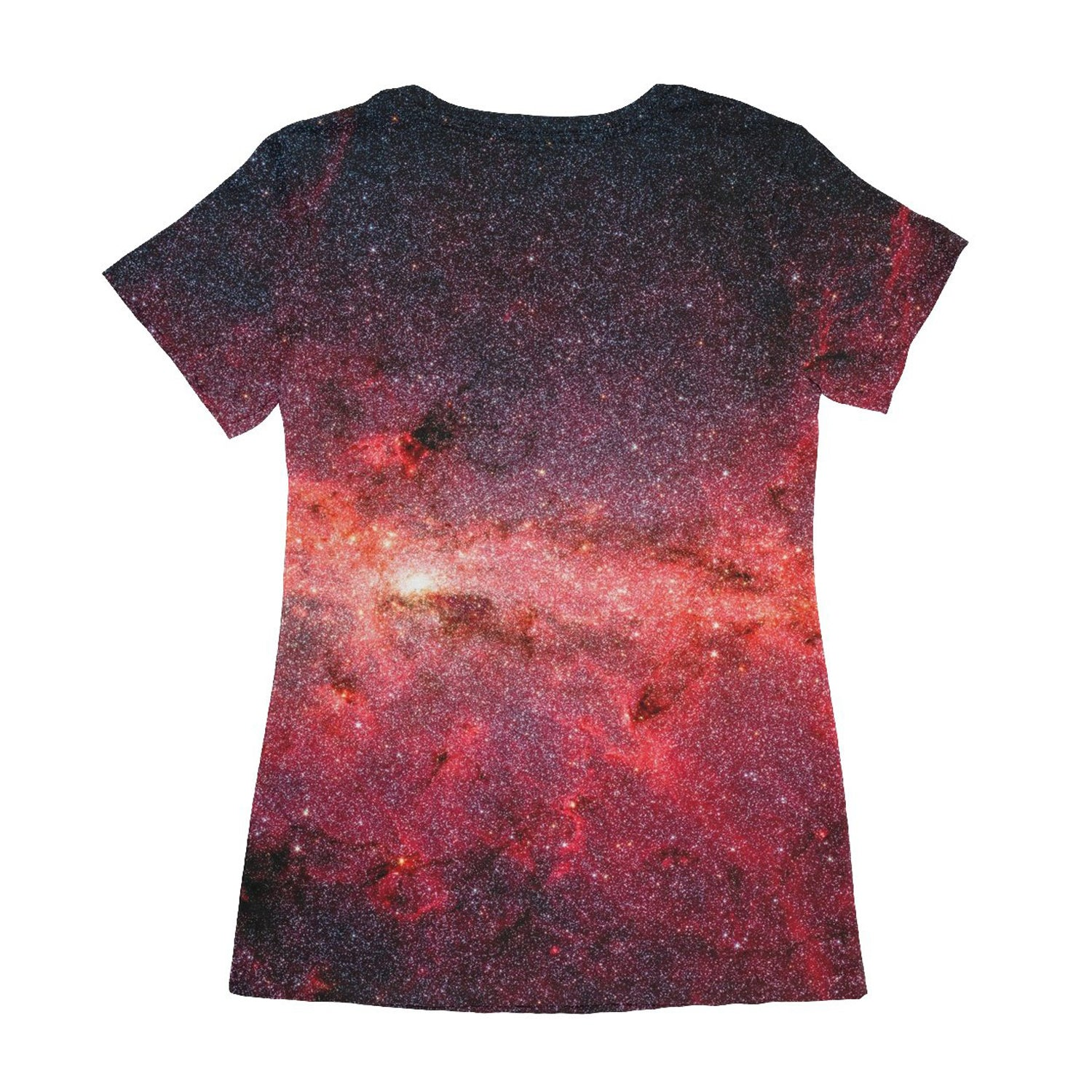 the back of an unusual teeshirt for women showing the milky way in infrared