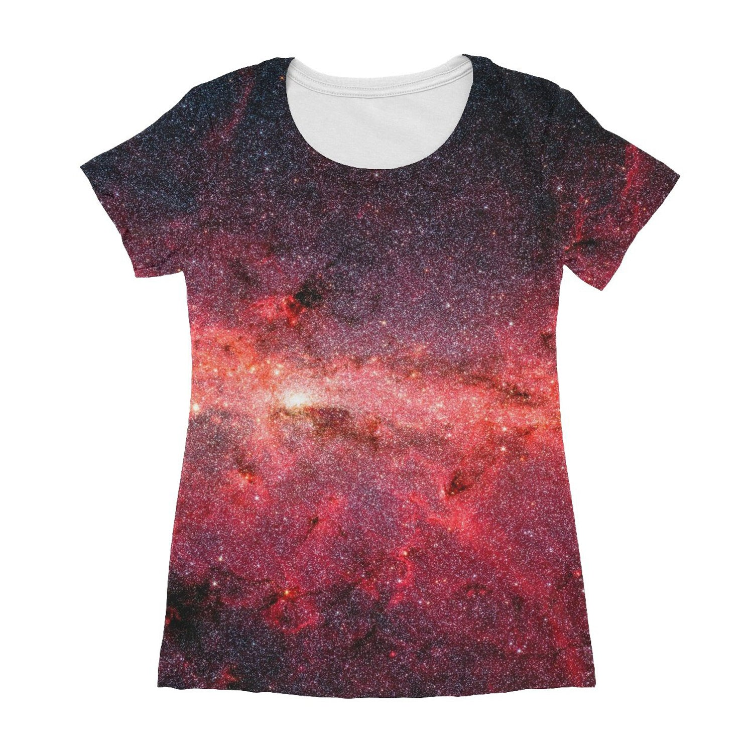 the front of an unusual teeshirt for women showing the milky way in infrared