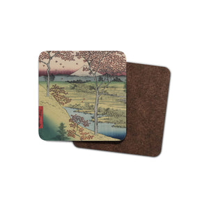 drinks coaster with japanese art on it: mount fuji framed by maple trees