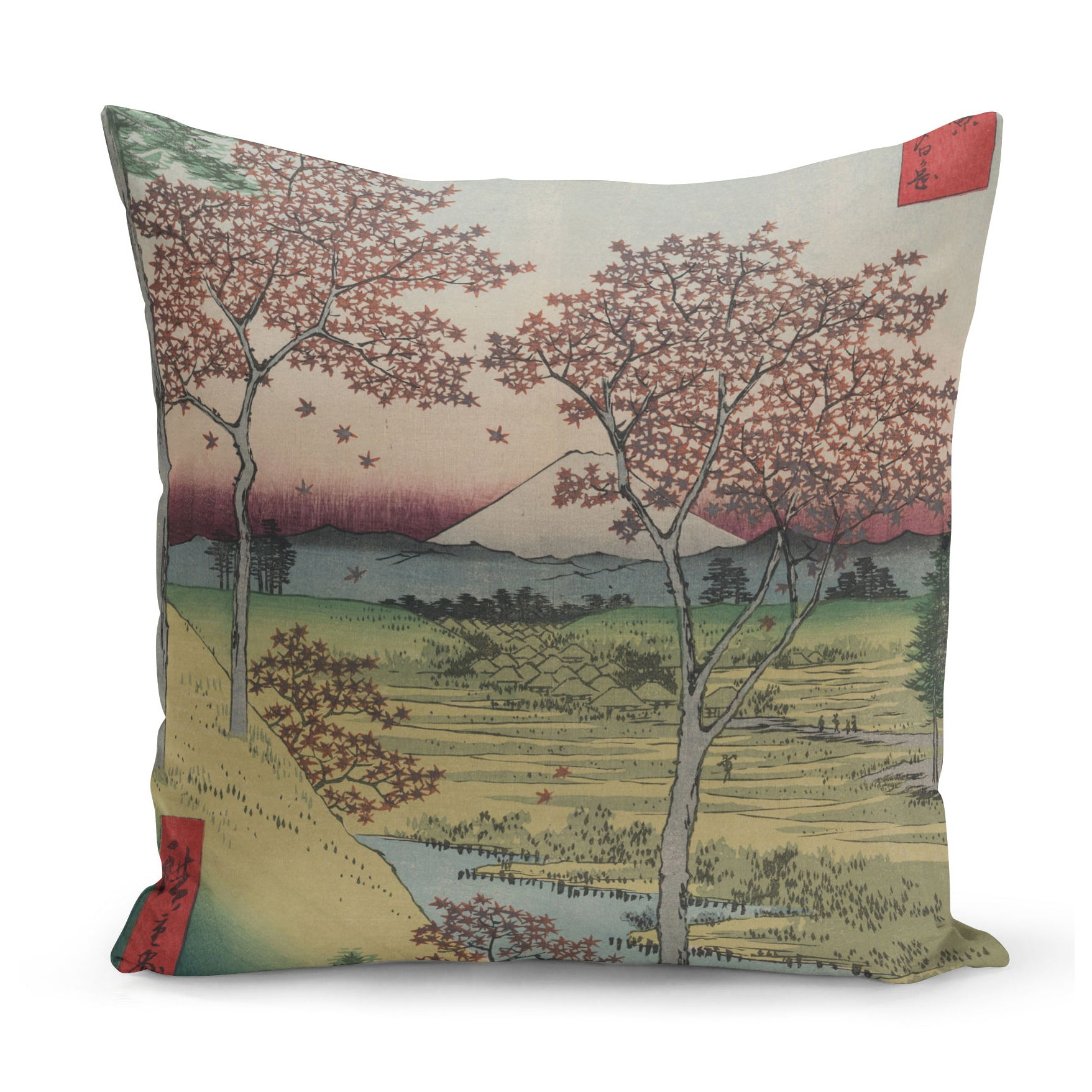 cushion with 1850s japanese art of mount fuji with maple trees