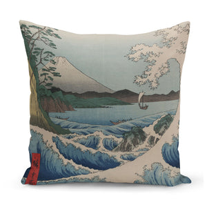 cushion with 1850s japanese art of mount fuji and boat on waves