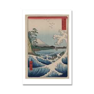 japanese watercolour print by ando hiroshige of boat on waves