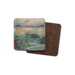 drinks coaster with japanese art on it: mount fuji with wildflowers