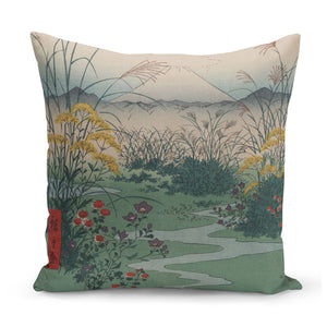 cushion with 1850s japanese art of mount fuji and wildflowers