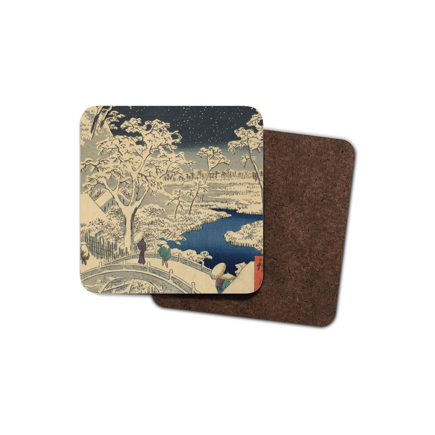 drinks coaster with japanese art on it: boat on the waves