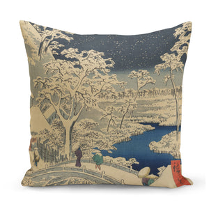 cushion with 1850s japanese art of tokyo snowstorm at night