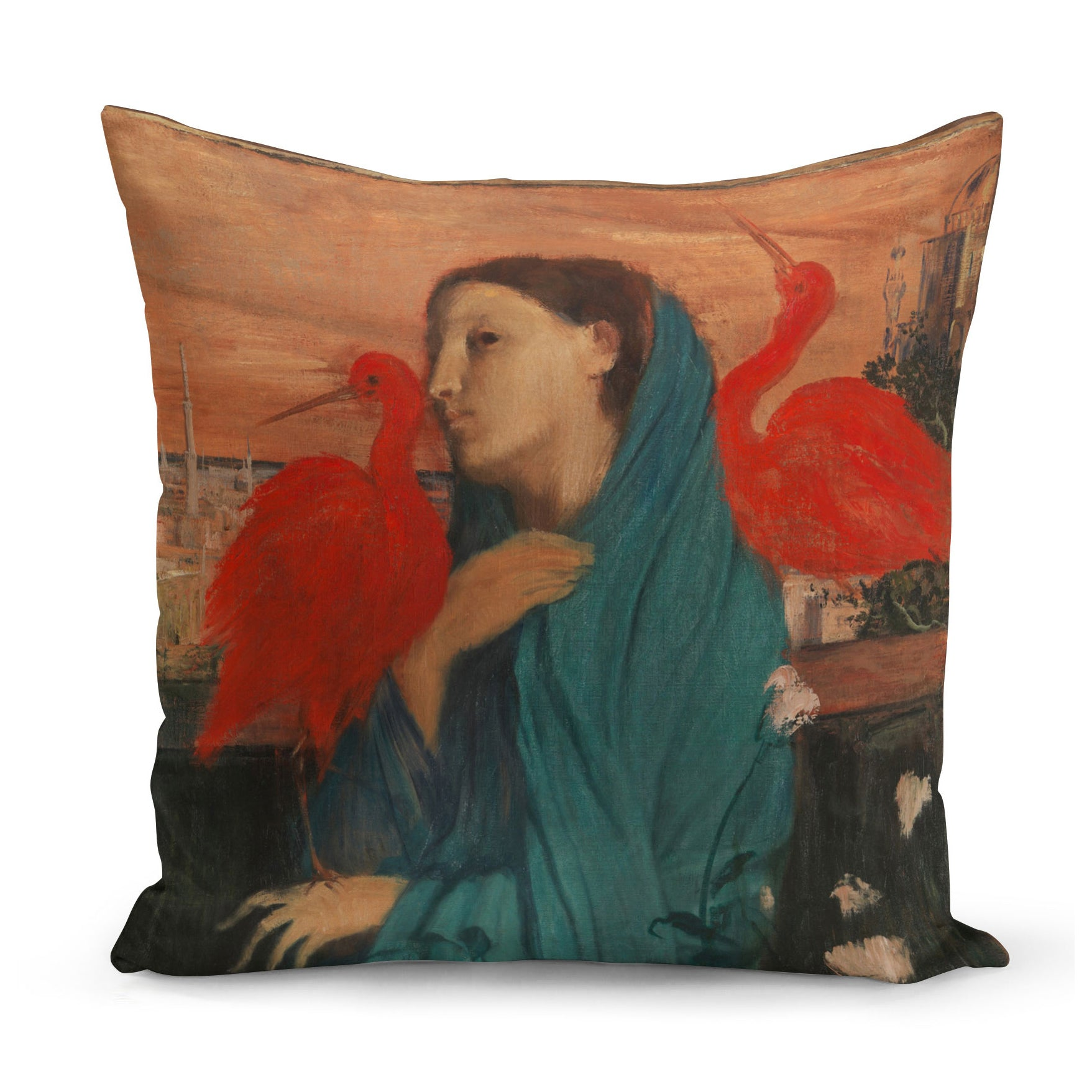 cushion decorated with art by Edgar Degas of young woman with two red ibises on her shoulders