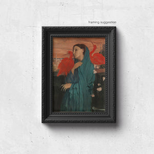 vintage painting of young woman with scarlet ibises by edgar degas, as a framed print