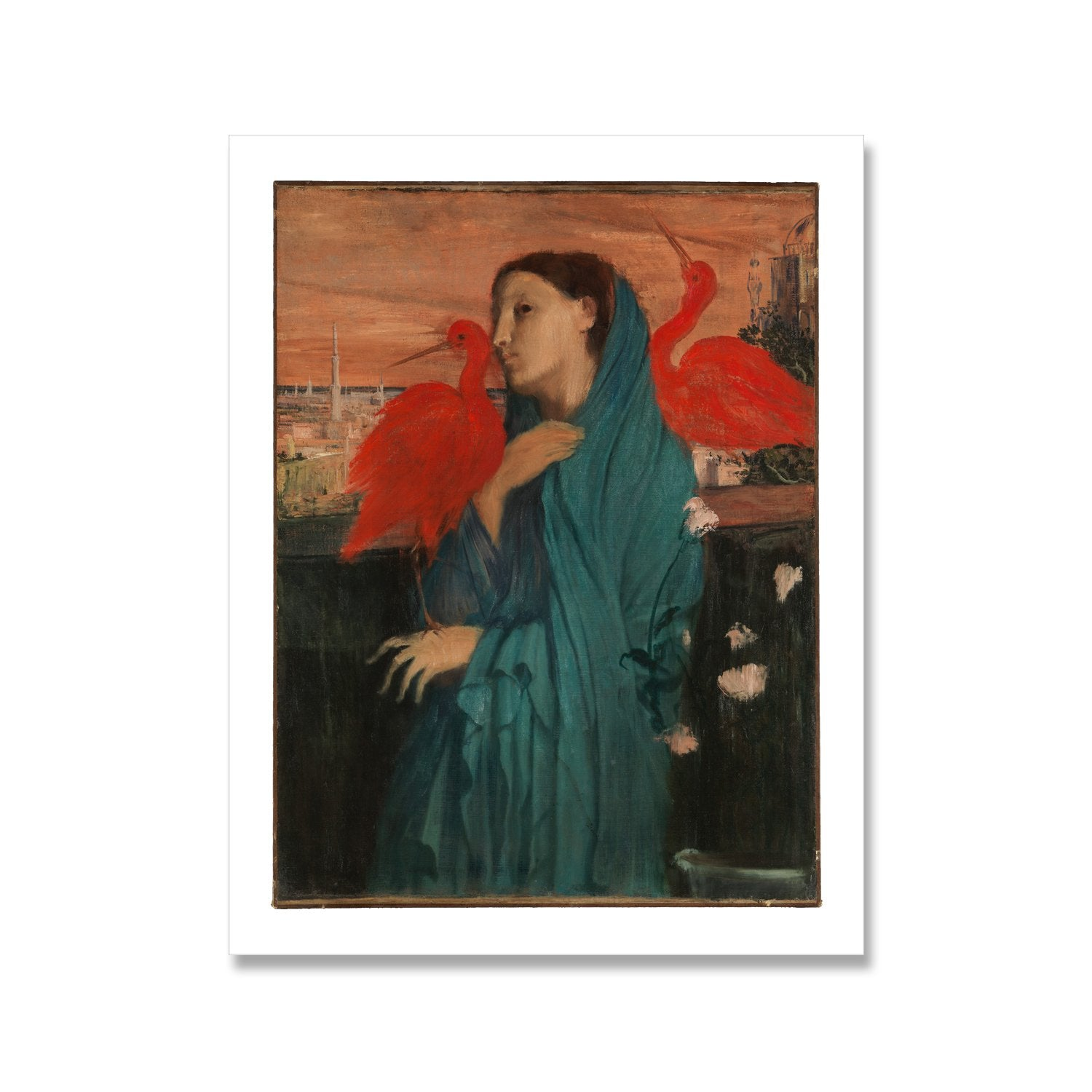 vintage painting of young woman with scarlet ibises by edgar degas, as a print