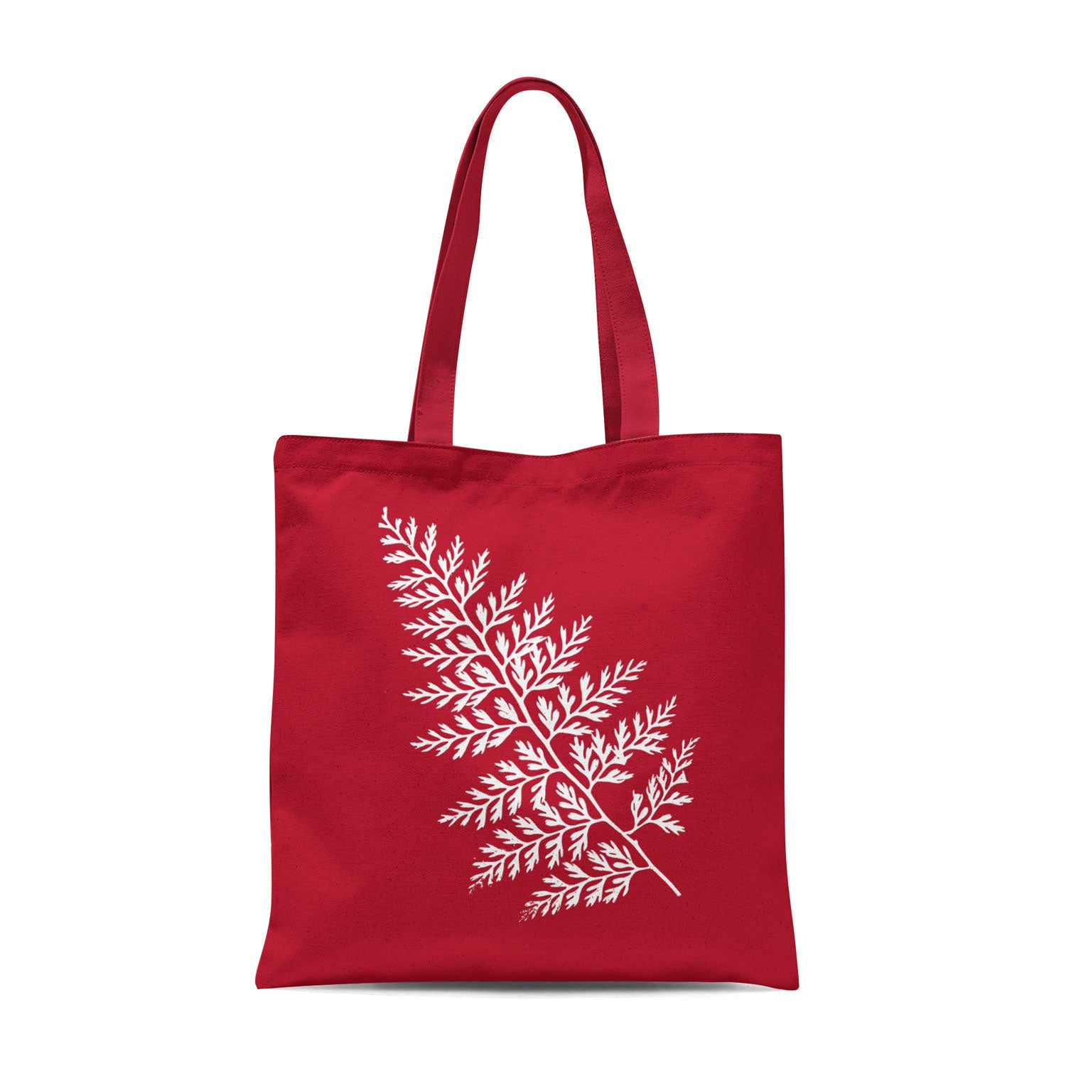 red tote bag with white leaf design