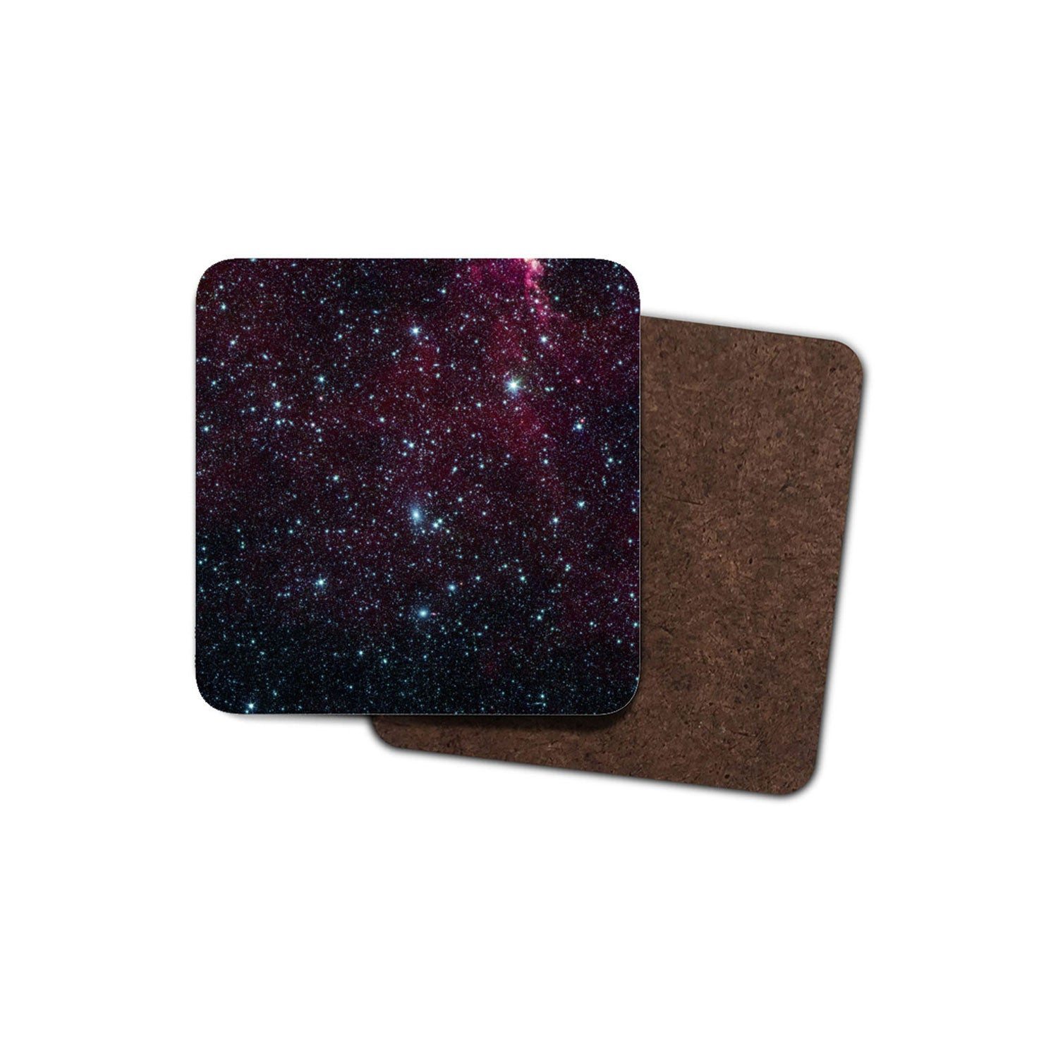 black-red drinks coaster showing NASA photo of Perseus-Pisces galaxy supercluster