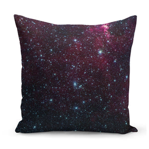 cushion with image of space in black and red