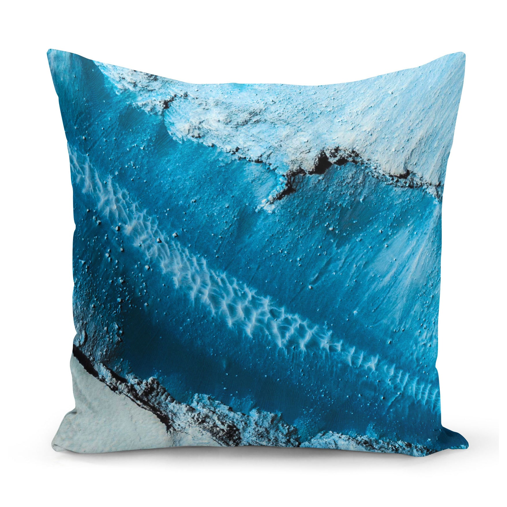 unique cushion showing the surface of Mars in blue